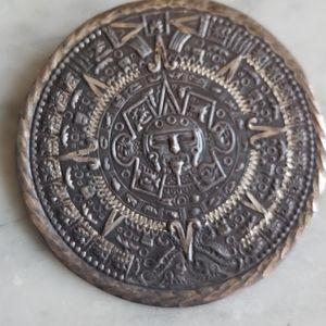 Vintage Sterling Aztec Sun God Brooch/Pendant